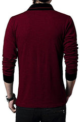 Red Color Cotton Hoseiry Men's Henley Neck Tshirt - 7BT-RED