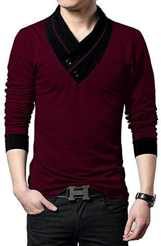 Red Color Cotton Hoseiry Men's V Neck Tshirt - 2BT-RED