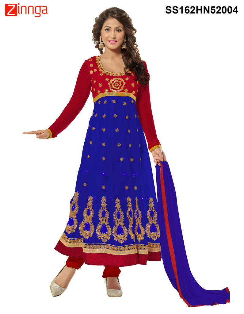 Red and Blue Color Net Anarkali Salwar Suit