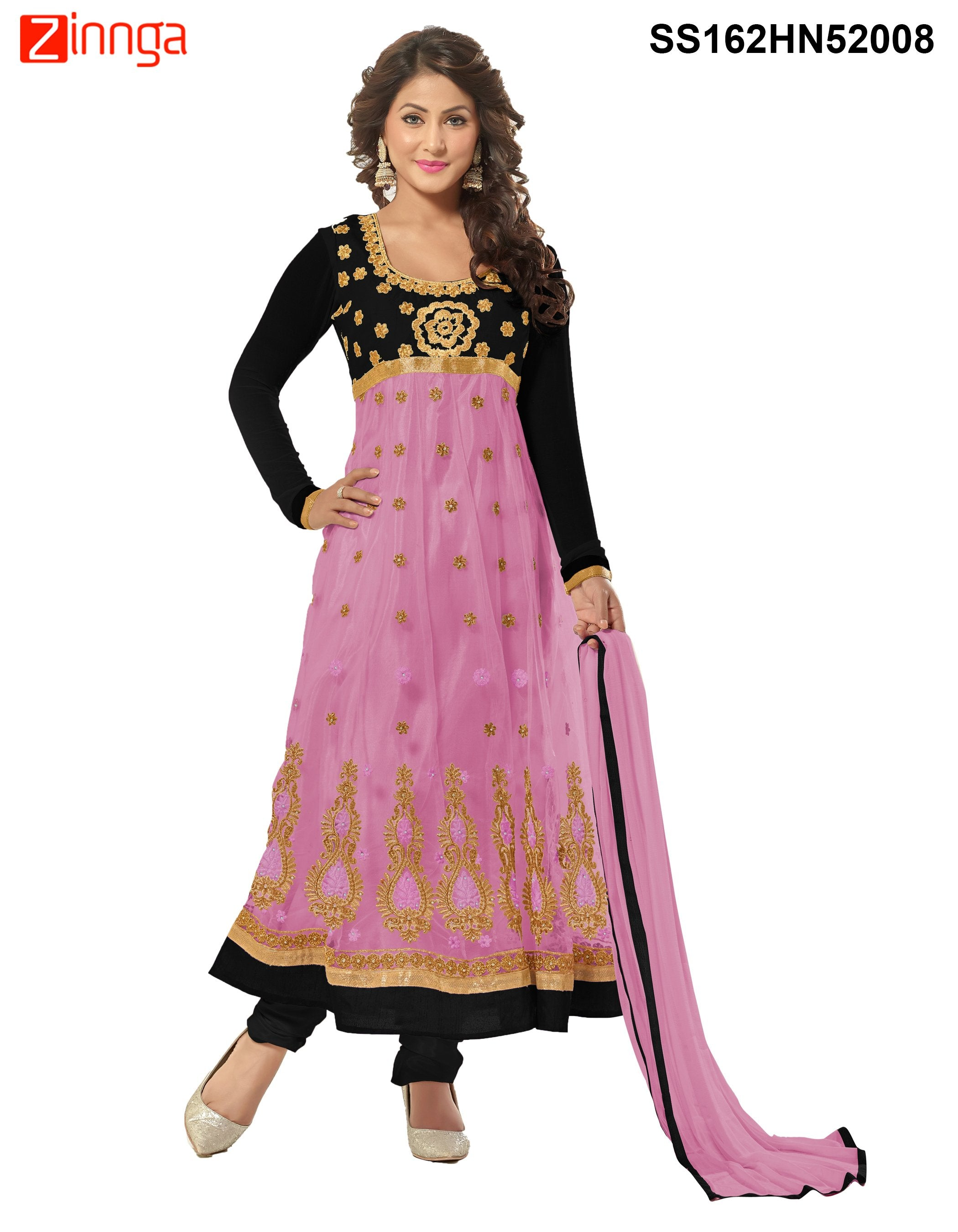 5e50f5c3047 Black and Light Purple Color Net Anarkali Semi Stitched Salwar Suit