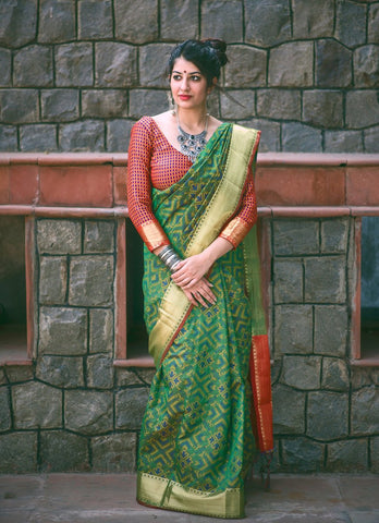 Green Color Patola Silk Saree - 2MNSV802