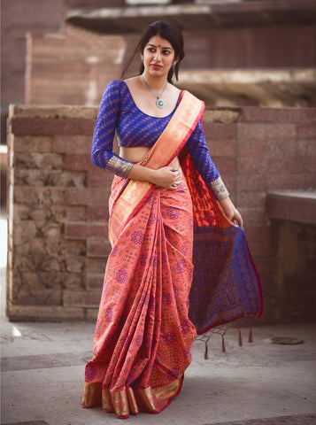 Pink Color Patola Silk Saree - 2MNSV805