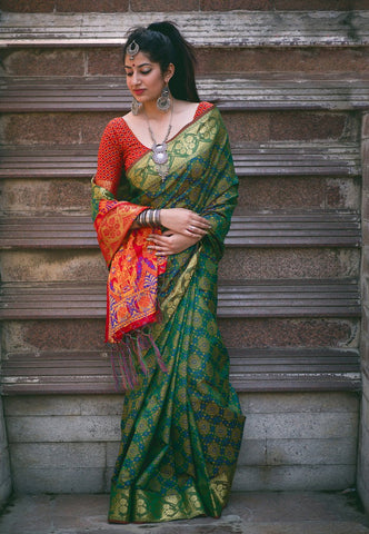 Green Color Patola Silk Saree - 2MNSV806