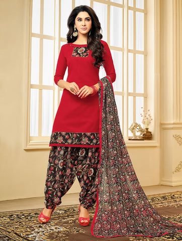 Red Color Cotton Blend UnStitched Salwar  - 2SRNG18001
