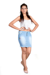 Light Blue Color Cotton Lycra Women's Skirt - KWSK7002