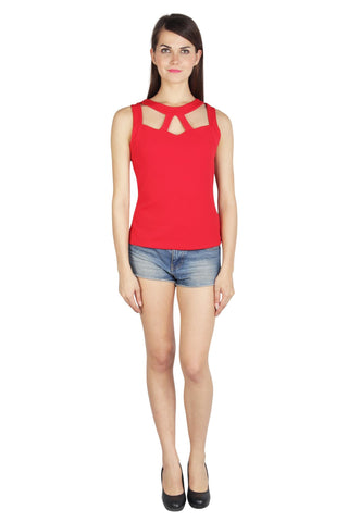 Red Color Rice Jacquard Top - 2sis015-7