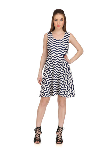 Blue and White Color Poly Cotton Dress - 2sis225-25