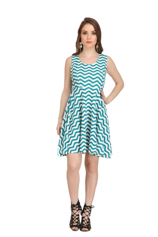 Green and White Color Poly Cotton Dress  - 2sis225-45
