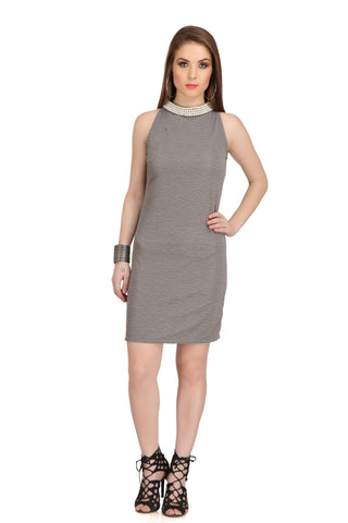 Grey Color Poly Cotton Dress - 2sis238-8