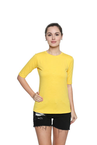 Yellow Color Lycra Knit Top - 300NT213Y