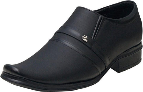 Black Color Synthetic Leather Shoes - 302-BLACK