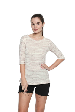 Off White Color Lycra Knit Top - 302NT213M