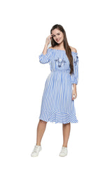 Buy Blue Color Cotton Rayon off Shoulder Dress