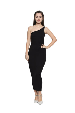 Black Color Knit One Shoulder Dress - 307MI217B