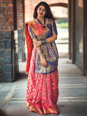 Salmon Pink Color Patola Silk Women's Saree - 31770