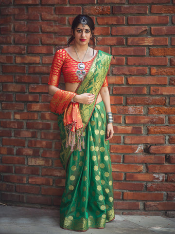 Green Color Patola Silk Women's Saree - 31772
