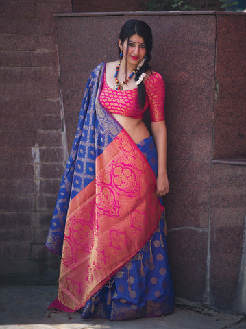 Blue Color Patola Silk Women's Saree - 31775