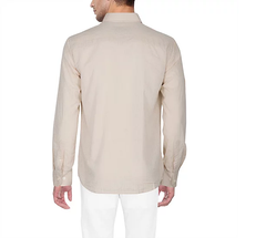 D'INDIAN CLUB Men's Biege Plain Cotton Causal Shirt - club-5