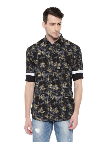 Black Color Cotton Men's Shirt - 350C