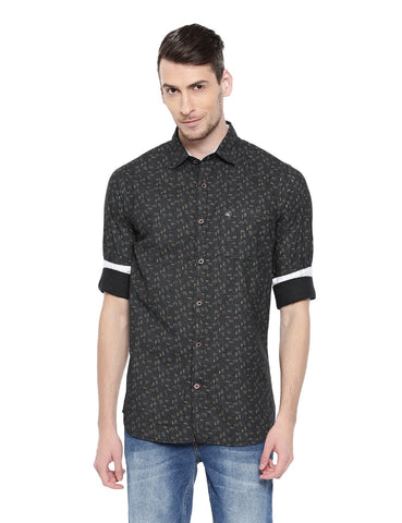 Black Color Cotton Men's Shirt - 351C