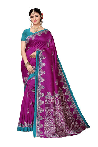 Purple  colour Bhagalpuri Khadi Saree - 352-Purple