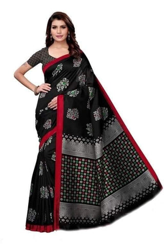 Black Color Bhagalpuri Khadi Printed Saree - 358-Black