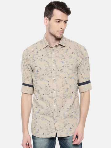 Beige Color Cotton Men's Shirt - 362B