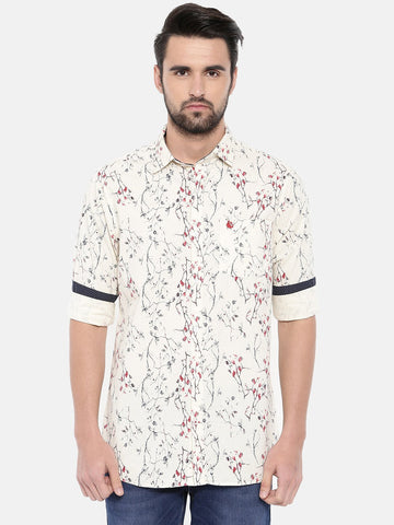 Cream Color Cotton Men's Shirt - 363B