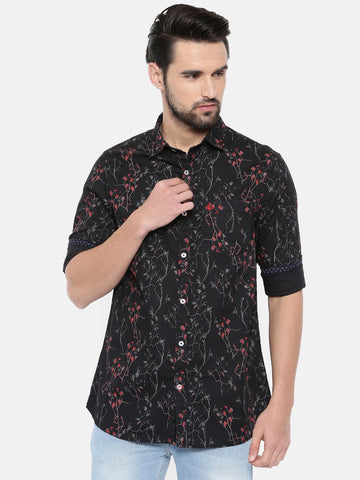 Black Color Cotton Men's Shirt - 363C
