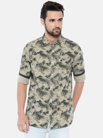 Olive Color Cotton Men's Shirt - 365B