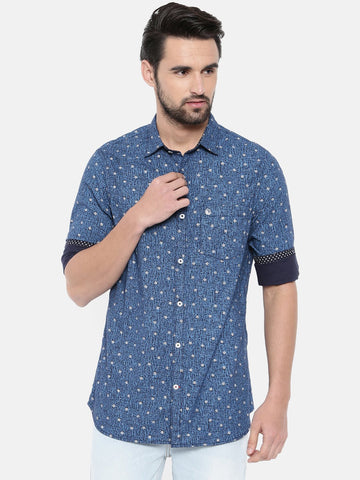 Blue Color Cotton Men's Shirt - 366C