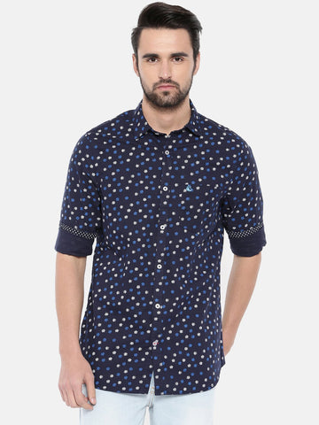 Navy Blue Color Cotton Men's Shirt - 367B