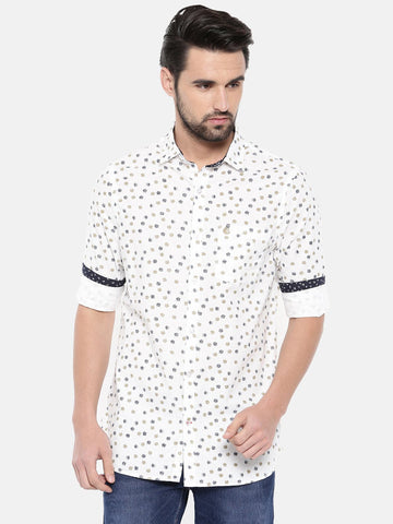 White Color Cotton Men's Shirt - 367C