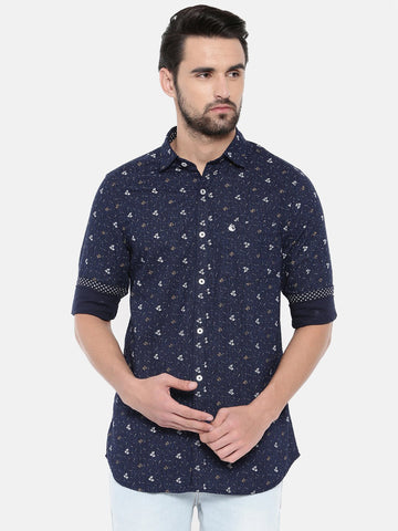 Navy Blue Color Cotton Men's Shirt - 369A