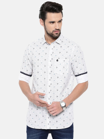 White Color Cotton Men's Shirt - 369C
