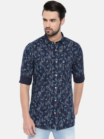 Navy Blue Color Cotton Men's Shirt - 370A