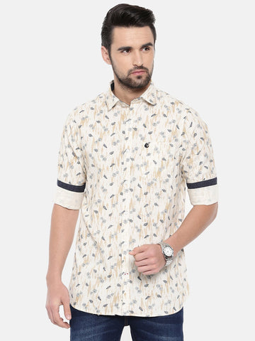 Light Cream Color Cotton Men's Shirt - 370B