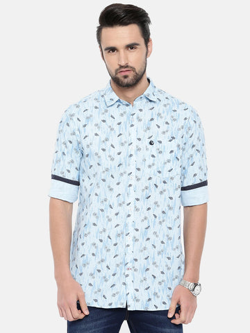 Light Blue Color Cotton Men's Shirt - 370C