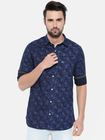 Blue Color Cotton Men's Shirt - 371A
