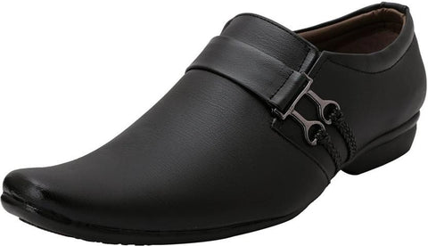 Black Color Synthetic Leather Shoes - 372-BLACK