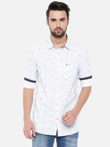 White Color Cotton Men's Shirt - 372A