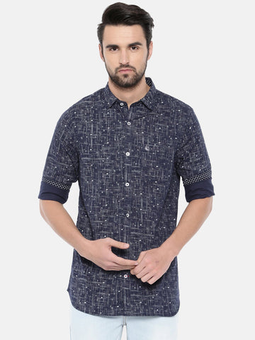 Navy Blue Color Cotton Men's Shirt - 372B