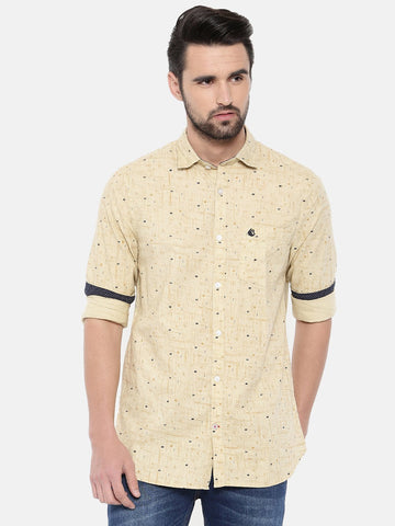 Yellow Color Cotton Men's Shirt - 372C