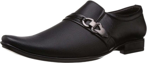 Black Color Synthetic Leather Shoes - 373-BLACK
