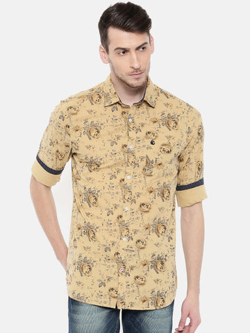 Beige Color Cotton Men's Shirt - 373B