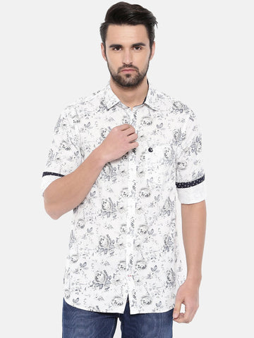 White Color Cotton Men's Shirt - 373C