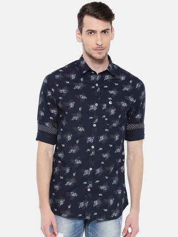 Navy Blue Color Cotton Men's Shirt - 374B