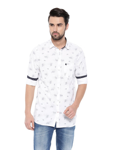 White Color Cotton Men's Shirt - 374C