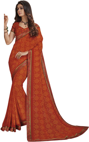 Orange Color Georgette Saree - 37702-VANSHI