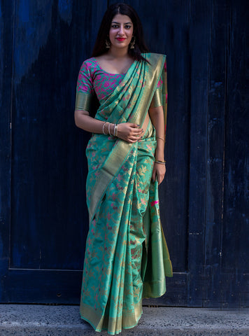 Green Color Banarasi Silk Women's Saree - 39459